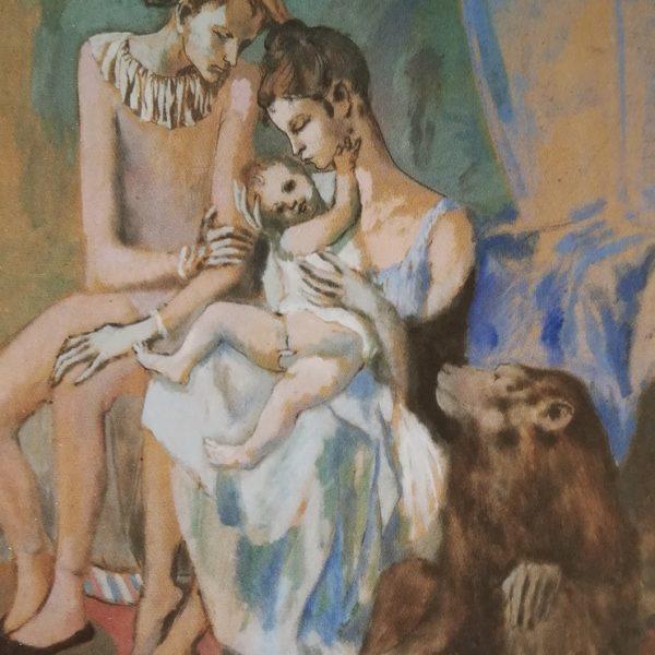 Familia de acrobatas com um macaco